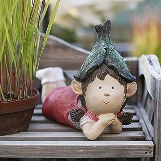 Luckyw Kreativ söt pardocka vattentät harts trädgårdsstaty för gård landskap gräsmatta dekoration hantverk gåva