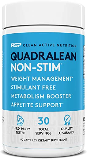 RSP Nutrition QuadraLean - Stimulant Free Weight Management, Metabolism Booster, Energy & Appetite Support - CLA, L-Carnitine, Green Tea Extract, Non-Stim Formula, 30 Serv