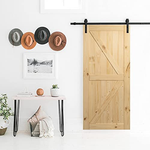 d6fc2b861d4 BELLEZE 36in x 84in Sliding Barn Wood Door Unfinished Knotty Pine Single  Door Only Pre Drilled