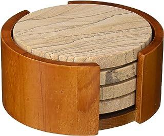 Thirstystone Sandstone Wood Absorbent Coaster, 4 inch round, Desert Sand w/Holder