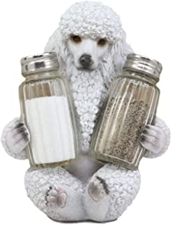 """Ebros Realistic Groomed White French Poodle Puppy Dog Glass Salt and Pepper Shakers Holder Figurine 6.25""""Tall Whimsical Hu..."""