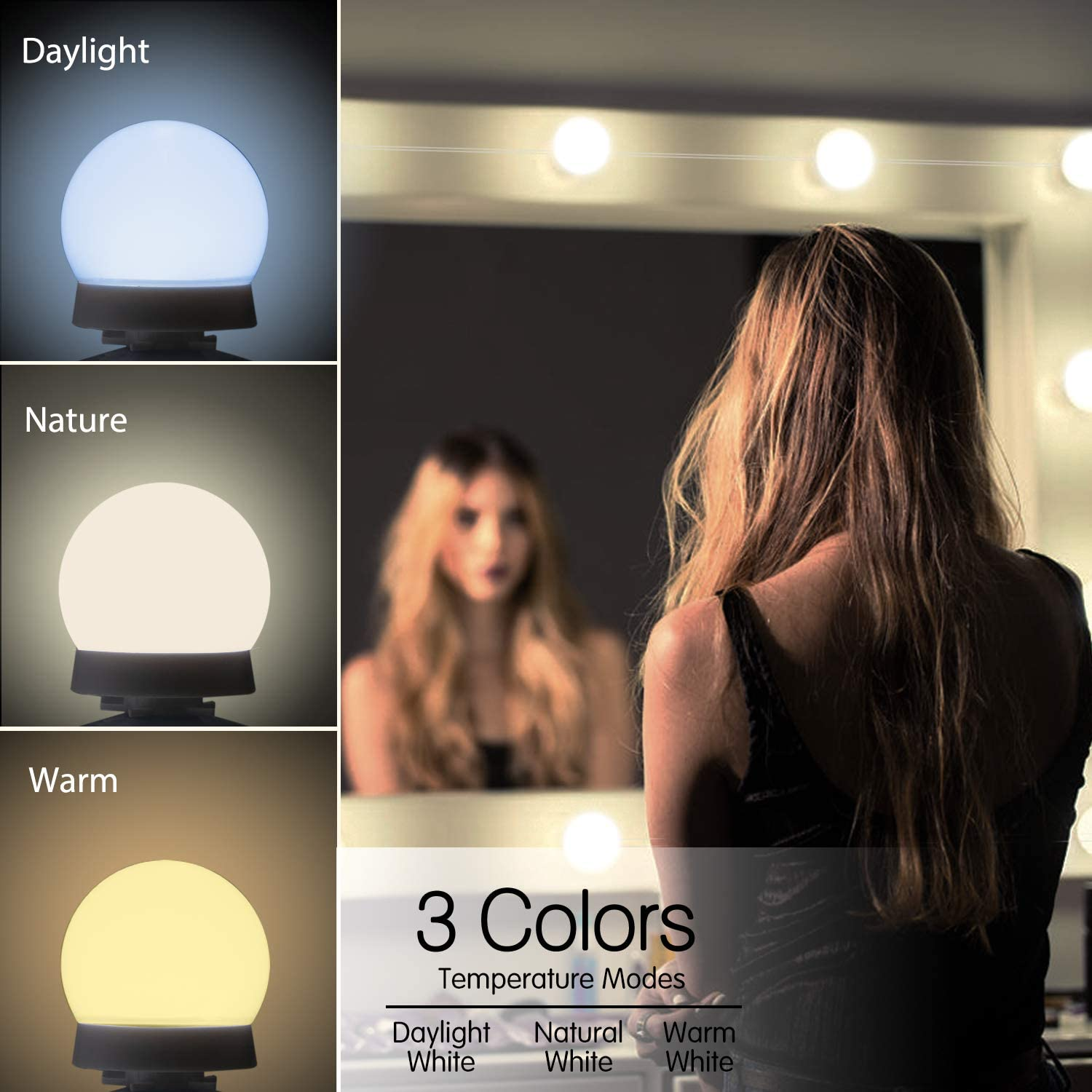 Buy Upgraded Hollywood Style Vanity Mirror Lights Kit 10 Dimmable Led Bulbs With 3 Color Modes Best For Makeup Dressing Table Bathroom Dressing Room Power Supply Plug In Lightings Mirror Not Include