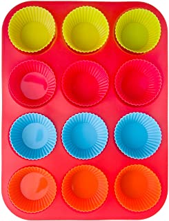 13 PC Homwe Silicone Bakeware Includes Cupcake Baking Cups and Muffin Pan (Muffin Pan + 12 Cupcake, Red)