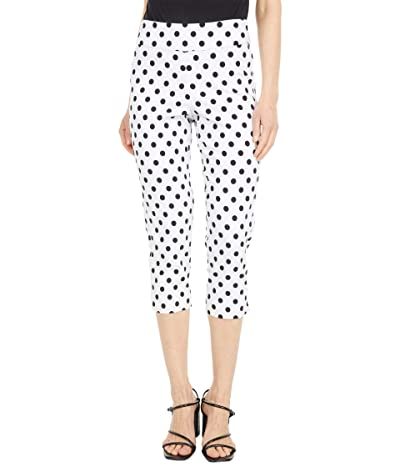 Krazy Larry Pull-On Capri Pants (White Polka Dots) Women