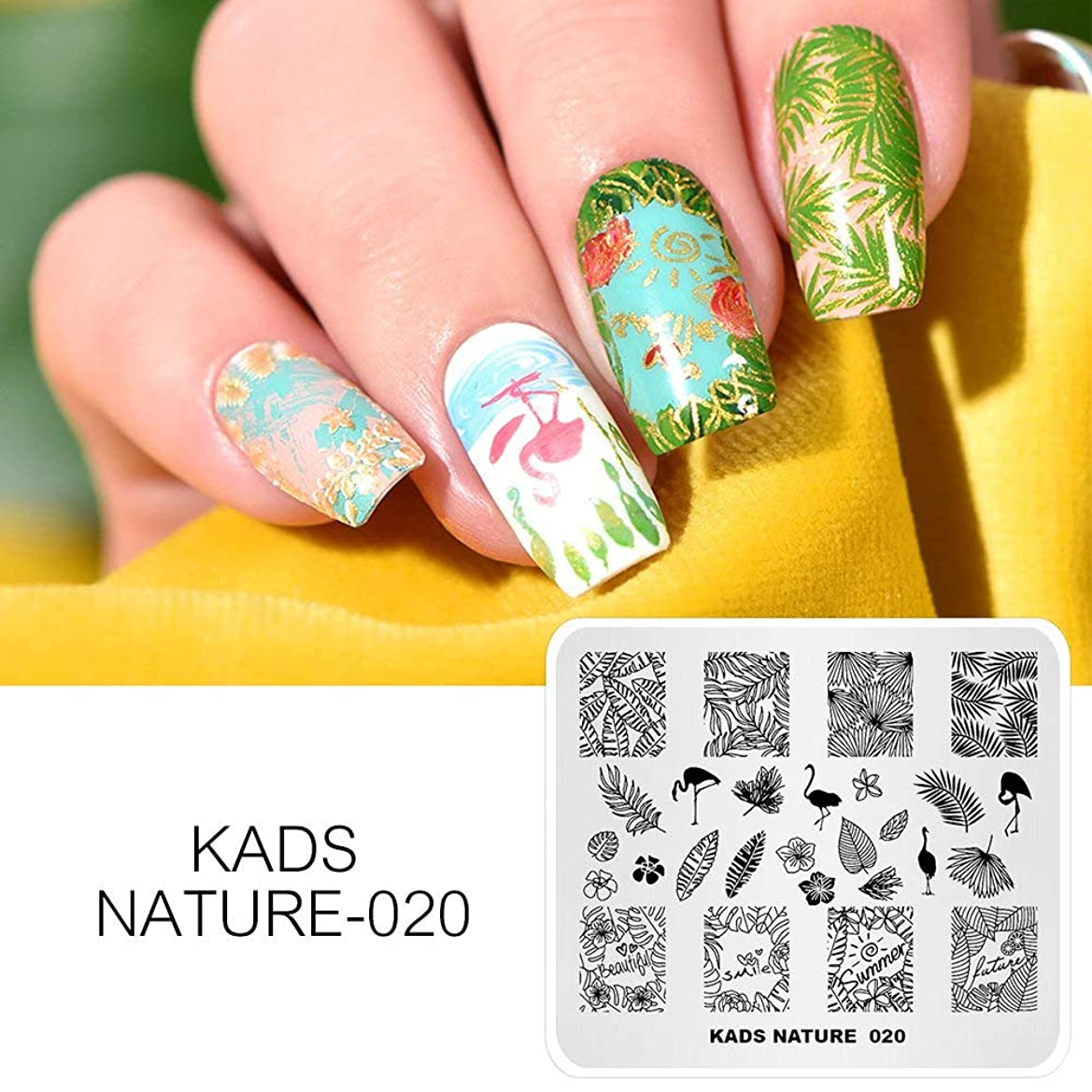 単調なドール溶かすKADS ネイルプレート ネイルイメージプレート 美しい緑葉 花柄 優雅な鶴 ネイルアートツール ネイルステンシル (NA020)