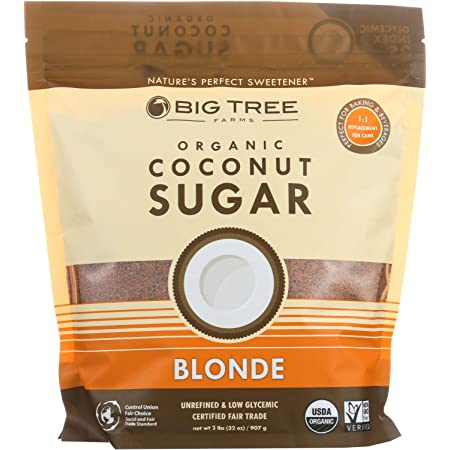 Big Tree Farms Organic Coconut Sugar Cane Sugar Alternative(Low Glycemic, Fair Trade, Packaging May Vary), Blonde, 32 Oz