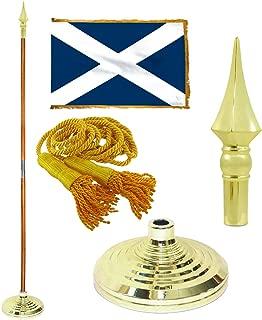 Super Tough Scotland 3ft x 5ft Flag, Flagpole, Base, and Tassel (7 Ft Oak Pole, Plastic Spear)