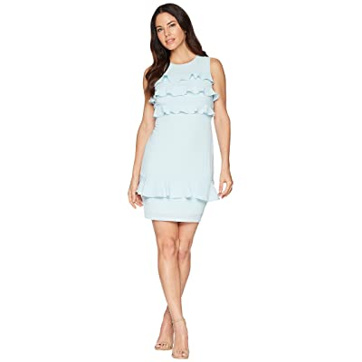 Maggy London Catalina Crepe Tiered Ruffle Sheath Dress (Powder Blue) Women