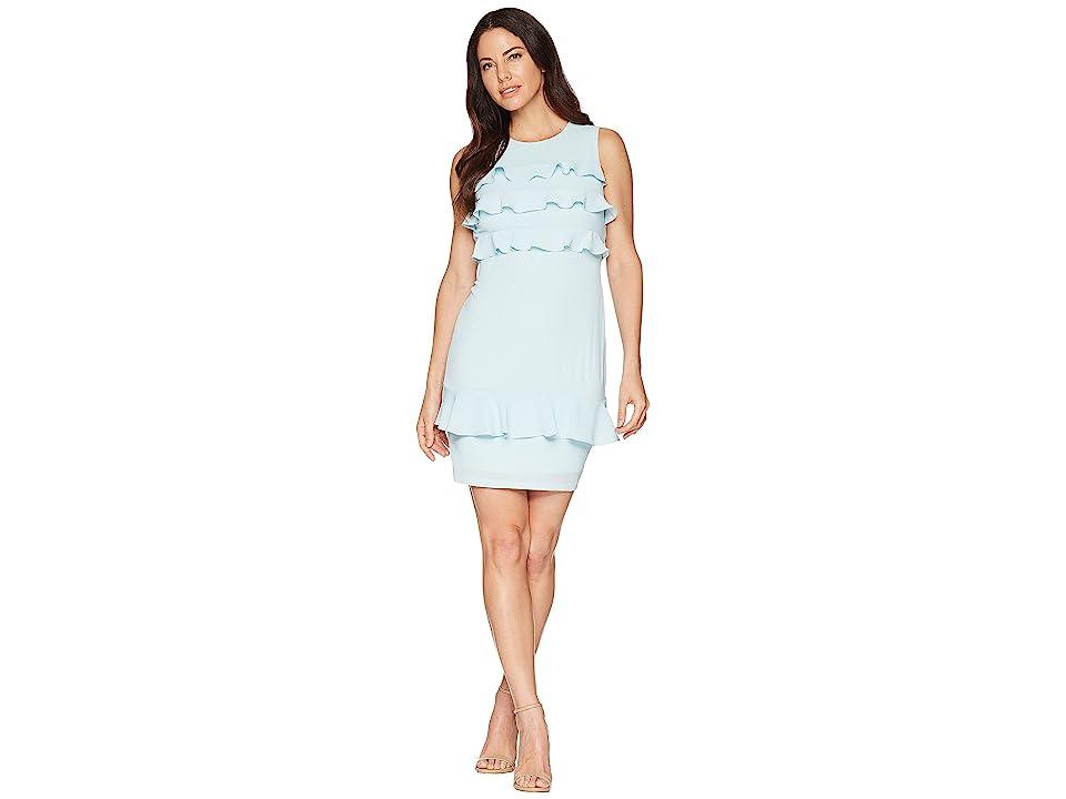 bff9b995 Maggy London Catalina Crepe Tiered Ruffle Sheath Dress (Powder Blue) Women's  Dress