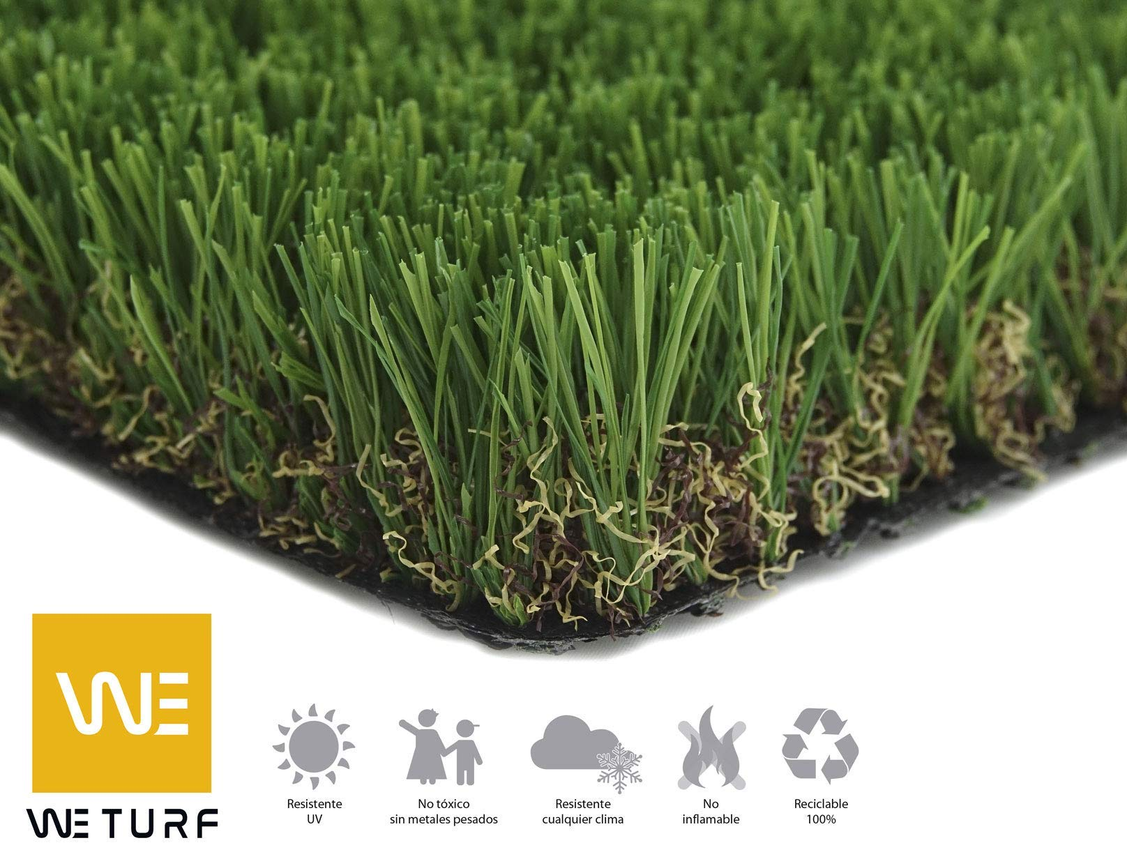 WETURF Césped Artificial/Césped Sintético 25mm (2mx0, 5mx2, 4m, Bicolor con rizo beige): Amazon.es: Jardín