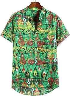 Camisa de Hombre Camisa de Manga Corta con Estampado Americana de Gran tamaño Personalidad Casual Top