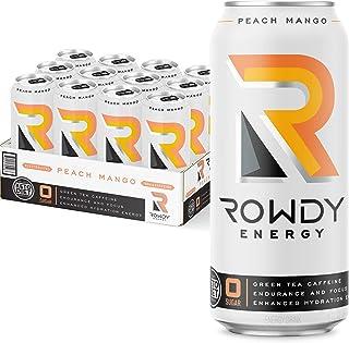 Rowdy Energy Drink, Peach Mango, Sugar Free, 16 fl Oz, Pack of 12 - Electrolytes, Natural Caffeine, Vitamins B6 & B12 & Ke...