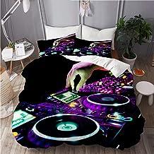 AIKIBELL Juego de Ropa de Cama 3 Piezas Microfibra,DJ Mezcla la Pista en Discoteca en Fiesta,1 Funda Nórdica y 2 Funda de Almohada (Cama 140x200)