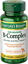 Nature's Bounty Vitamin B-Complex with Folic Acid and Vitamin C Supplement, Aids Metabolism and Antioxidant Support, 125 Tablets, 3 Pack