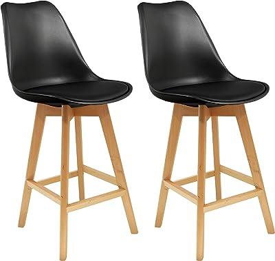 THE HOME DECO FACTORY - HD3506 - Lot de 2 Chaises de Bar Plastique Noire 48x56, 3x106 cm