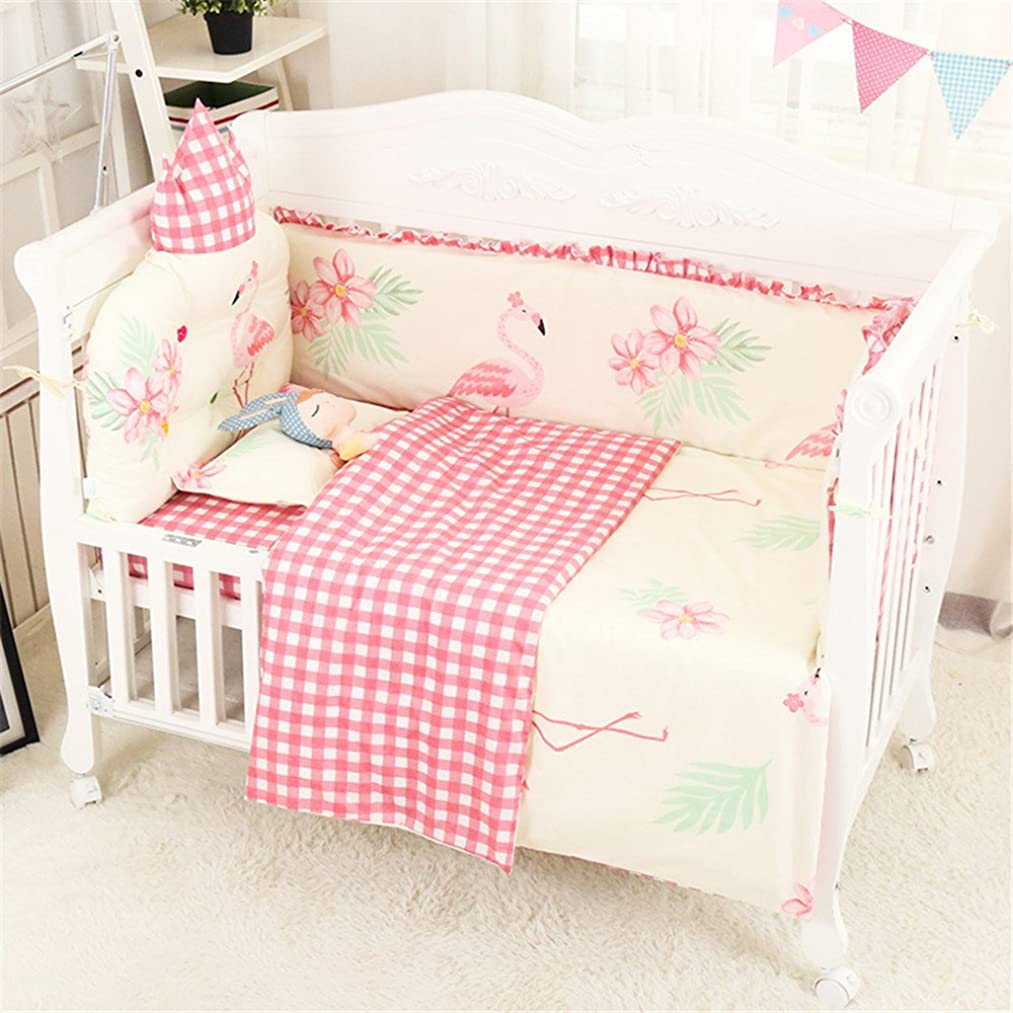 Abreeze Flamingo Crib Set Baby Bedding Pink Crib Bedding Set for Girls With Bumpers,Ideal Baby Shower Gift,7piece