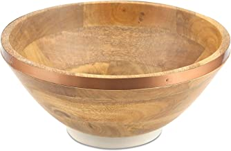 وعاء سلطة من خشب المانجو من ثيرستيستون مع شريط بلمسة نهائية نحاسية.