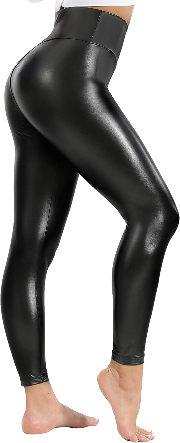 KAOYOO Sexy Stretchy Manufacturer OFFicial shop Faux Leather Glossy High Max 79% OFF Leggings Pants Wai
