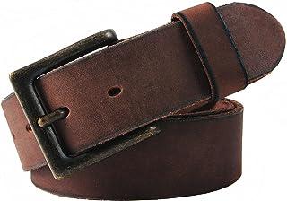 NPET Mens Leather Belt Full Grain Vintage Distressed Style Snap on Strap 1 1/2