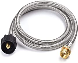 SHINESTAR 5FT Stainless Braided Propane Hose Adapter 1lb to 20lb Converter for QCC1/Type 1 LP Tank to 1 LB Portable Grill, Camp Stove, Buddy Heater