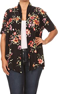 6e95a96fe7e Women s Plus Size Solid Print Casual Short Sleeve Draped Open Front  Cardigan Made in USA