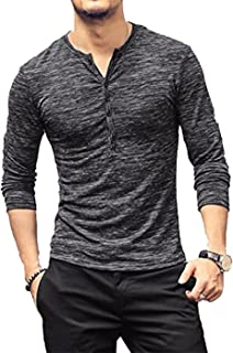 MAXIMGR Men's Casual Button Down Tee Shirt Slim Fit Long Sleeve Muscle T-Shirt Jersey