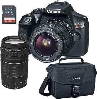 Canon EOS Rebel T6 DSLR Camera w/EF-S 18-55mm, EF 75-300mm Lens, 32GB SD Card & Camera Bag (Renewed)