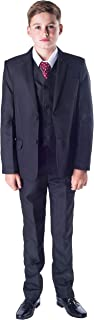 Boys 5 Piece Black Classic Suit Wedding Page Boy Outfit - 3-6m to 14 Years
