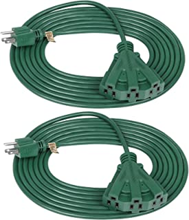 DEWENWILS 15 FT Green Outdoor Tri-Tap Extension Cord Splitter, Weatherproof 16/3 SJTW Power Cable for Holiday Decoration and Landscaping Lights, UL Listed, Pack of 2