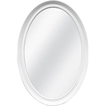 MCS Oval Wall Mirror, 21 x 31 Inch, White