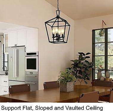 PARTPHONER Pendant Light Fixtures, Dining Room Chandelier Ceiling Mount, 4-Light Farmhouse Light Fixture with 6 Feet Adjustab