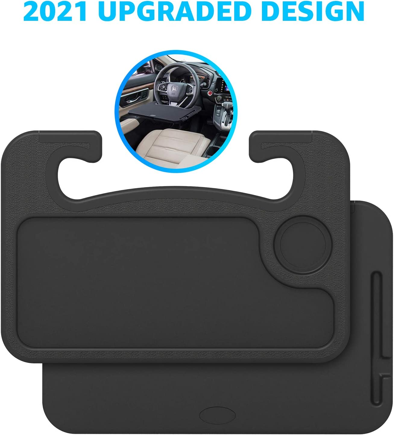 Steering Wheel Tray with Edge Protection Multifunctional Car Table Desk for Eating Writing, Laptop Fits Most Vehicles Steering Wheels (Won't Damage Steering Wheel)