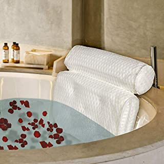 Bath Pillow Luxury Spa Bathtub Pillow Big 4D Air Mesh Tech Home Hot Tub Pillow with Updated 5 Suction Cups & Hang Hook