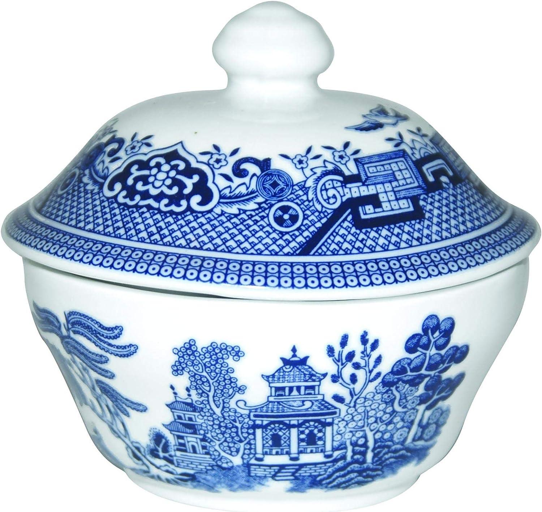 Churchill Blue Willow Fine China Sugar Earthenware Bowl Portland Mall Super sale Covered