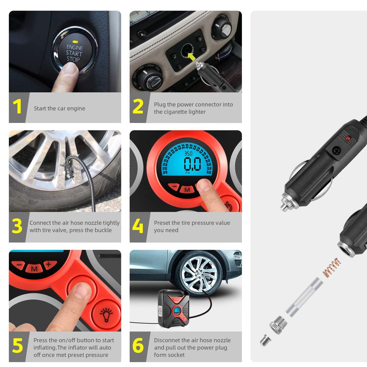 WindGallop Car Tyre Inflator Air Compressor Tyre Pump 12V Electric Car Air Pump for Car Tyres Bike Tyres with Digital Tyre Pressure Gauge and Inflator Valve Adaptors LED Light (Red)