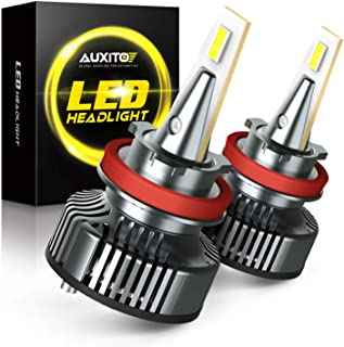 AUXITO H8/H9/H11 LED Headlight Bulbs, 400% Brighter, Mini Size, 80W 16,000LM Per Pair, CanBus Ready, Beam Adjustable Headlight Lamp Conversion Kit, 6500K White, Pack of 2