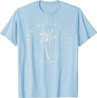 Retro Cool Clearwater Beach Palm Tree Novelty Art T-Shirt