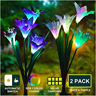 J JHOUSELIFESTYLE Garden Solar Lights Outdoor Decorative Flower Lights Multi-Color Changing Waterproof Solar Grave Flowers Cemetary Grave Decorations-2 Pack (Lily)