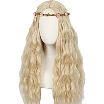 Linfairy Long Wavy Wigs Halloween Cosplay Costume Wig for Women Party With flower Crown (Flower Crown)