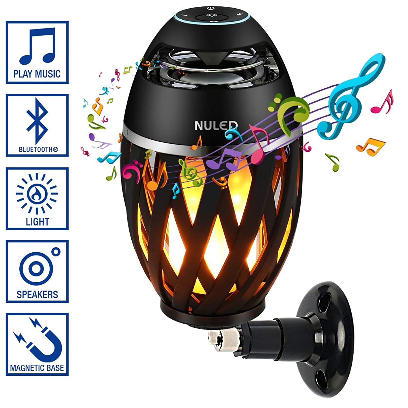 Magnetic Base & Wall Mount Kit IP65 Waterproof NULED Flame Speaker w. LED Romantic Atmosphere 3600mAh Rechargeable Batteries for Indoor/Outdoor Activities Bluetooth Pair 2 for Stereo Sound (One Pack)