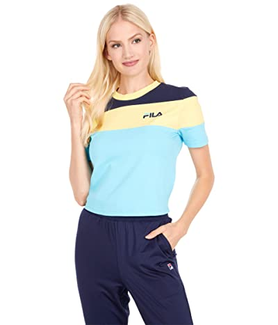Fila Maya Crop T-Shirt (Bachelor Button/Limelight/Peacoat) Women