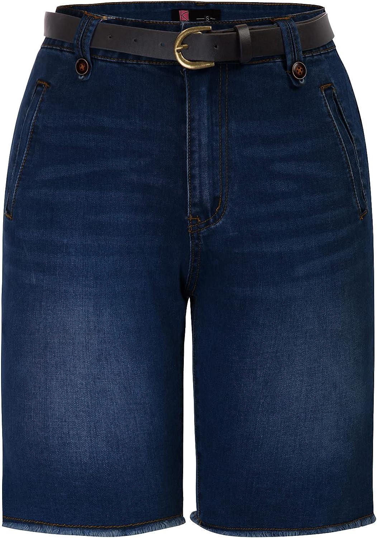 KANCY KOLE Women Bermuda Shorts Elastic Waist Belted Short Pants with Pockets S-XXL