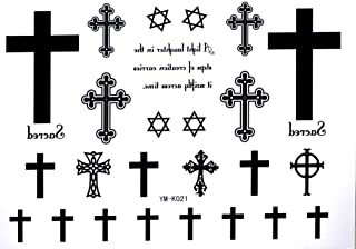 Cross Temporary Tattoos Letters Waterproof Tattoo Stickers Cross Hexagram Fake Tattoo