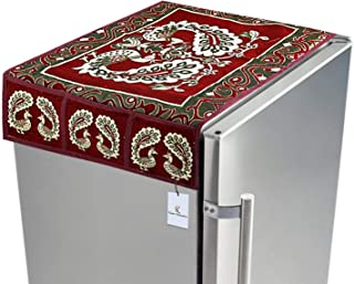 KUBER INDUSTRIES Red Cotton Fridge Top Cover Peacock Design Fc09