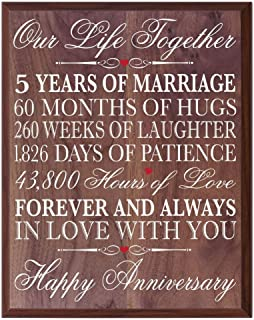 LifeSong Milestones 5th Decorations Women Men Couple, 5 Year Wedding for him Her Husband, 12 W X 15