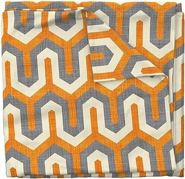 Roostery Duvet Cover, Orange Cream Chevron Geometric Texture Print, 100% Cotton Sateen Duvet Cover, Queen