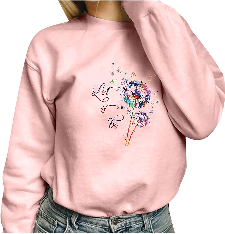 RFNIU Pink Sweatshirt Women Fall Casual Crewneck Print Friends Pullover Loose Comfy Long Sleeve Cute Kawaii Tops