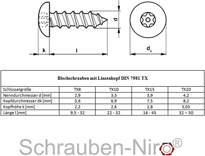 Blechschrauben Senkkopf 4,2x25 Torx Edelstahl ISO 14586 DIN 7982 Bohrspitze-selbstschneidend 4,2 x 25 mm 100 St/ück