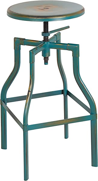 Office Star Eastvale 30 Inch Backless Metal Barstool Antique Turquoise