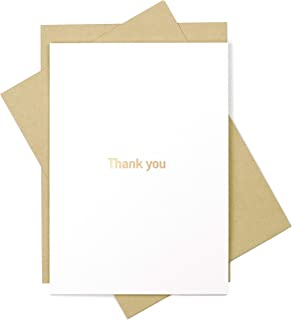 50 Thank You Cards and 50 Envelopes - Standard Size 5 x 7 - Modern Minimalistic Gold Foil Design For Any Occasion - Wedding, Baby Shower, Bridal Shower, Graduation, Birthday, Business, Watercoloring